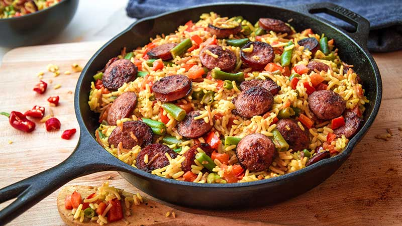 Quick Easy One Pot Rice Chicken Sausage Indian recipe